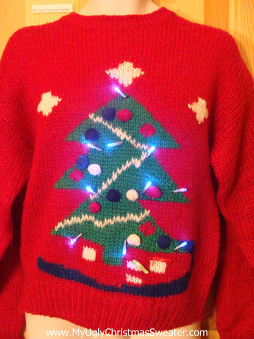 Red 80s Light Up Christmas Sweater with Tree
