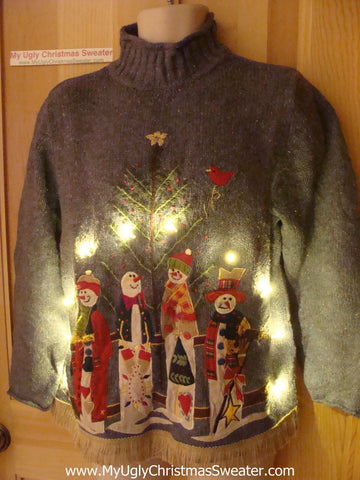 Tacky Ugly Christmas Sweater Snowman Family with Lights and Fringe (g57)