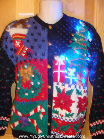 80s Two Sided Light Up Christmas Sweater