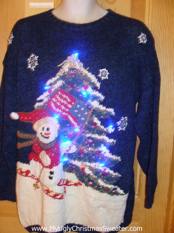Patriotic Flag Ski Theme Light Up Christmas Sweater