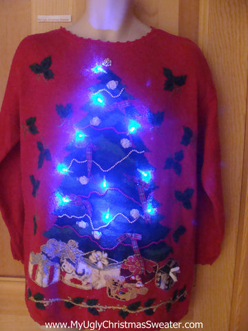 Tree with Plaid Bows Light Up Christmas Sweater