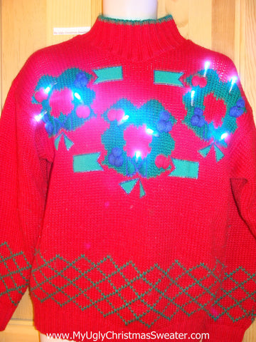 80s Retro Red Light Up Christmas Sweater