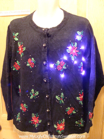 Tacky Ugly Christmas Sweater Poinsettias with Lights and Fringe (g58)