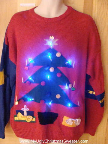 80s 3D Tree Light Up Christmas Sweater