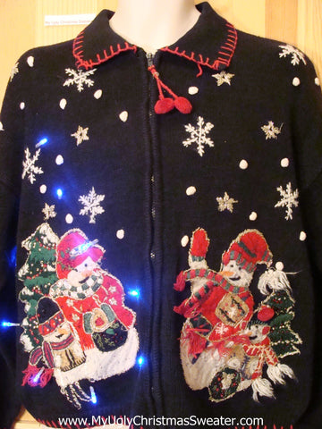 Two Sided Snowman Light Up Christmas Sweater