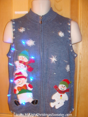 Light Up Christmas Sweater Vest with Snowmen