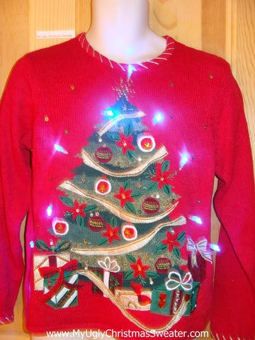Light Up Christmas Sweater with Bead Bling Tree