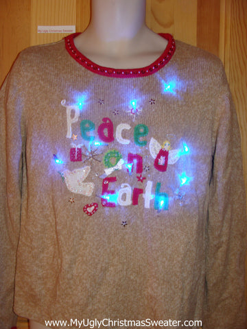 Light Up Christmas Sweater Peace on Earth