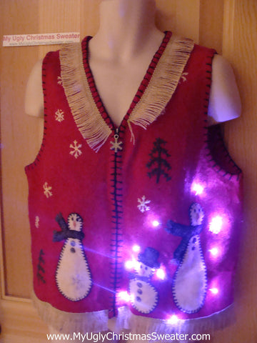 Tacky Ugly Christmas Sweater Vest with Wobbly Snowmen with Lights and Fringe (g59)