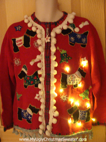 Tacky Ugly Christmas Sweater with Lights and Fringe. Festive Scottie Dogs (g5)
