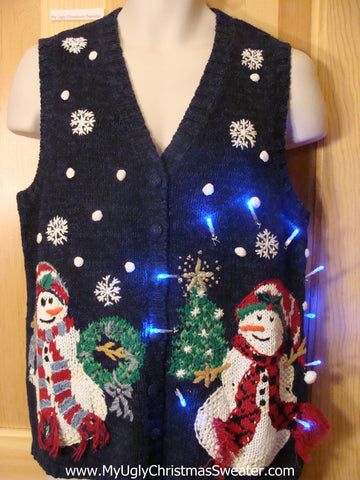 Need to Buy Christmas Sweaters? Light Up Sweater Blue Vest