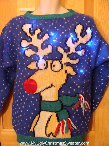 Holy Grail of Ugly Light Up Sweater 80s Gem with Reindeer