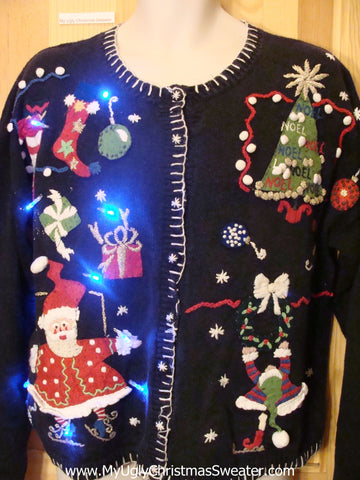 Need to Buy Christmas Sweaters? Light Up Sweater with Skating Santa and Elf