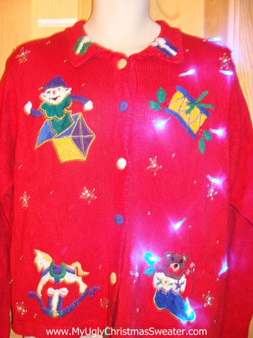 Need to Buy Christmas Sweaters? Light Up Sweater with Toys, Horse, Bear