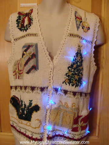Need to Buy Christmas Sweaters? Ivory Light Up Sweater Vest with Sleigh