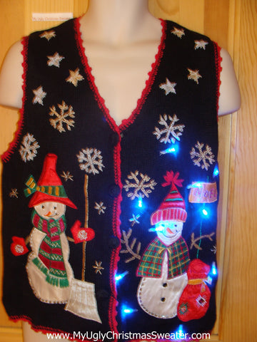 Need to Buy Christmas Sweaters? Cheesy Light Up Sweater Vest with Snowmen