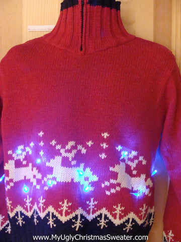 Need to Buy Christmas Sweaters? Red Vintage Reindeer Light Up Sweater