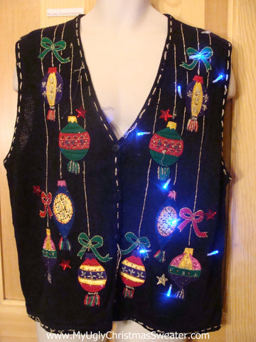 Need to Buy Christmas Sweaters? Light Up Sweater Vest with Ornaments