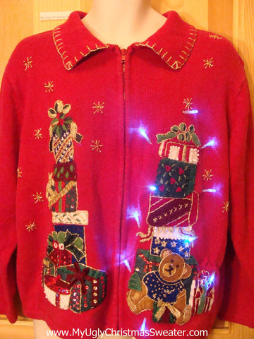 Need to Buy Christmas Sweaters? Red Light Up Sweater with Bear
