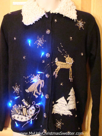 Need to Buy Christmas Sweaters? Light Up Sweater with Reindeer Sleigh