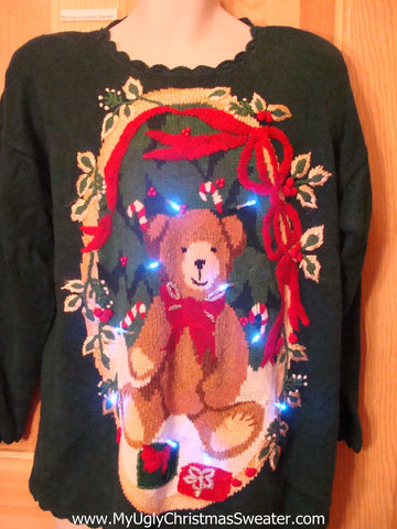 Need to Buy Christmas Sweaters? 80s Bear and Bows Light Up Sweater