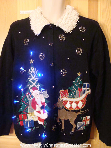 Need to Buy Christmas Sweaters? Light Up Sweater Santa and Reindeer