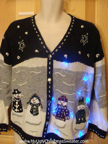 Need to Buy Christmas Sweaters? Light Up Sweater Winter Wonderland Snowman
