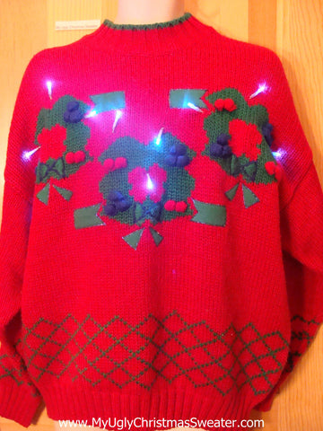 Need to Buy Christmas Sweaters? Red 80s Light Up Sweater Wreaths