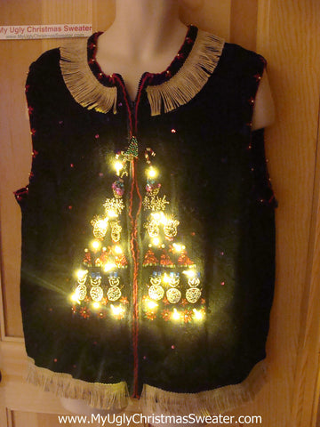 Tacky Ugly Christmas Sweater Vest with Lights and Fringe (g63)