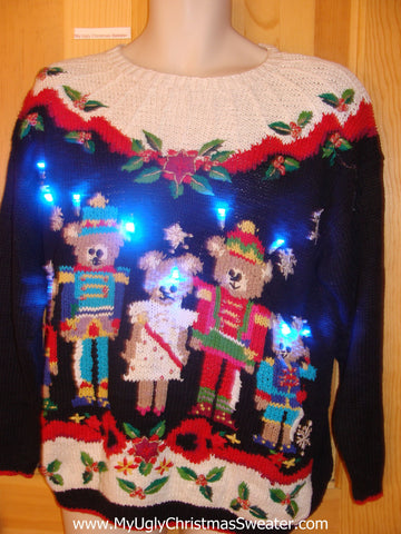 Need to Buy Christmas Sweaters? Nutcracker Bears 80s Light Up Sweater