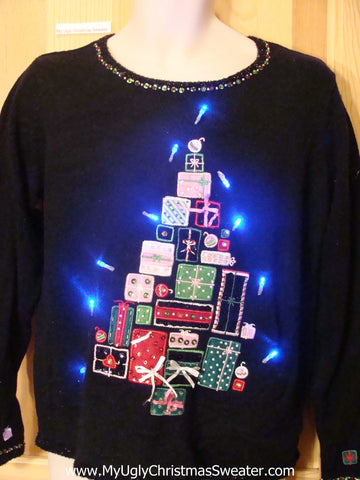 Need to Buy Christmas Sweaters? Light Up Sweater Tree of Gifts
