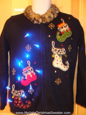 Need to Buy Christmas Sweaters? Light Up Sweater Pointy Stockings