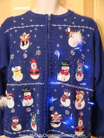 Need to Buy Christmas Sweaters? Light Up Sweater Furry Snowmen