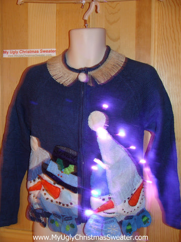 Tacky Ugly Christmas Sweater Massive Snowmen with Huge Hats with Lights and Fringe (g64)