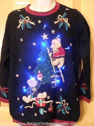 Need to Buy Christmas Sweaters? Bears Decorating Light Up Sweater