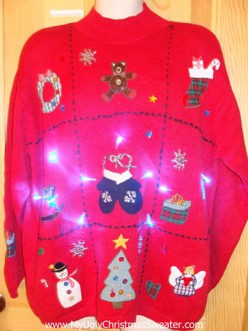 Need to Buy Christmas Sweaters? Red Light Up Sweater Ladies Mens XXL