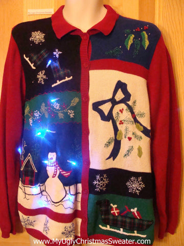 Need to Buy Christmas Sweaters? Light Up Sweater with Bow, Sleigh
