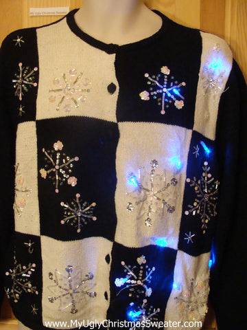 Need to Buy Christmas Sweaters? Light Up Sweater with Bling Snowflakes