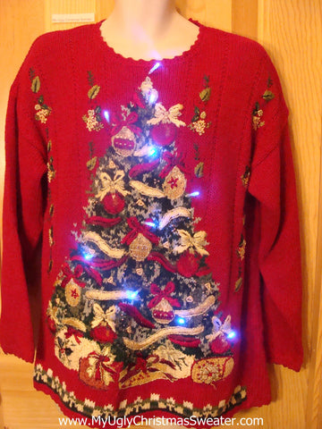 Need to Buy Christmas Sweaters? Red Light Up Sweater with Huge Tree