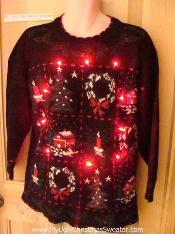 Tacky Ugly Christmas Sweater 80s Grid of Decorations with Lights and Fringe (g65)