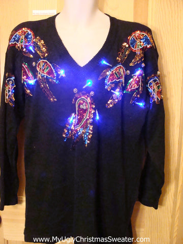 Need to Buy Christmas Sweaters? 80s Glam Bling Light Up Sweater