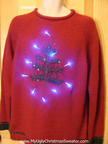 Need to Buy Christmas Sweaters? Soft Red Light Up Sweater with Bling