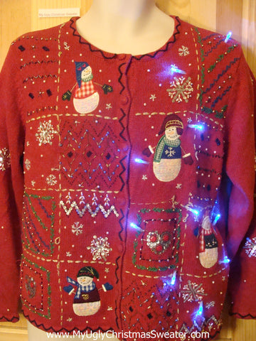 Need to Buy Christmas Sweaters? Light Up Red Cardigan with Bling
