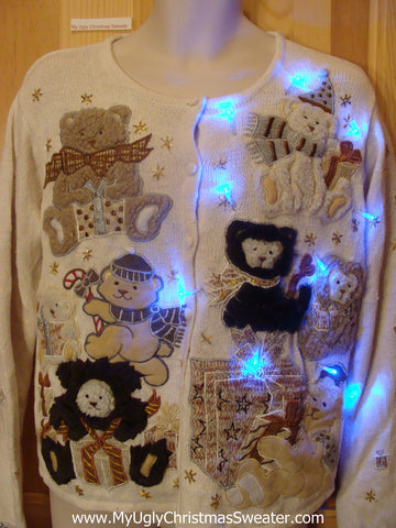 Need to Buy Christmas Sweaters? Light Up Sweater with Brown Bears