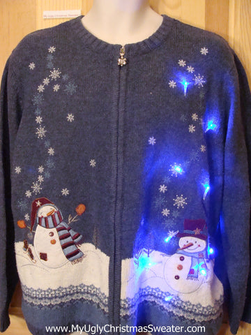 Need to Buy Christmas Sweaters? Blue Light Up Sweater with Snowmen
