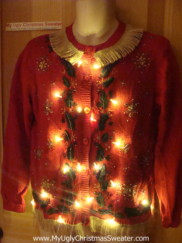 Tacky Ugly Christmas Sweater with TWO sets of Lights and Fringe (g66)
