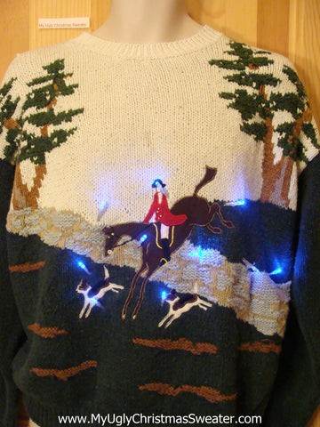 Need to Buy Christmas Sweaters? Horse Riding Light Up Sweater