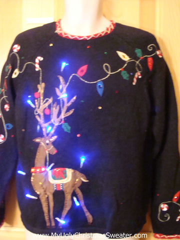 Holy Grail of Ugly Light Up Sweater with Huge Reindeer