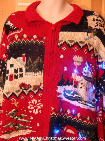 Two Sided Crazy Pattern Red Light Up Sweater