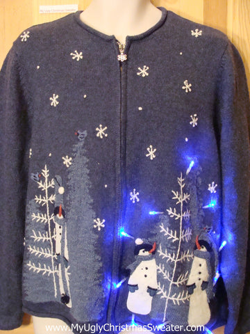 Two Sided Blue Snowman Themed Light Up Sweater